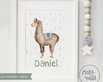 PRINTABLE Customized LLAMA, blue and brown hues. Nursery decor, llamas, print, Personalized, baby boys, baby girl, download, wall ,alpaca
