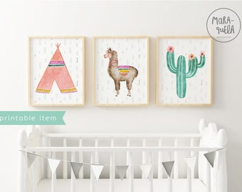 PRINTABLE LLAMA SET nursery decor: tepee, llama and cactus. Teepee, room wall art, llama illustration instant download, printable alpaca
