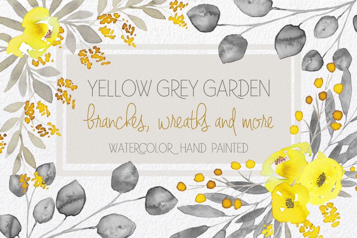 Watercolor Yellow And Grey Flowers Hand Painted Clip Art Etsy