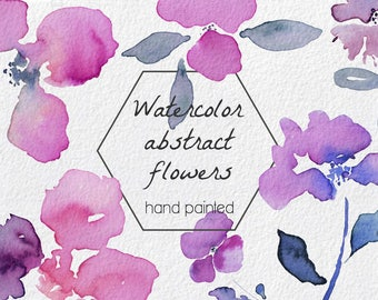 Abstract Flowers Watercolor, Hand Painted, Clip Art, design - Branches, leaves, flowers, wreaths, Illustrations pack, instant download art