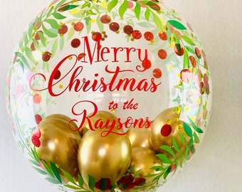 Large Personalised Christmas balloon gift/inflated christmas balloon in a box delivered/custom made christmas balloon centrepiece
