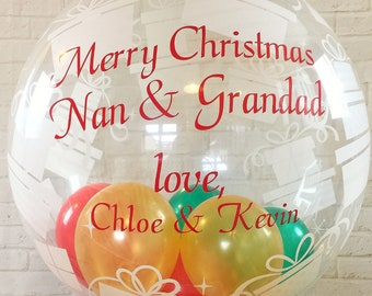 personalised  Christmas  balloon in a box surprise/ inflated balloon delivered/Christmas balloon gift/Christmas table centrepiece