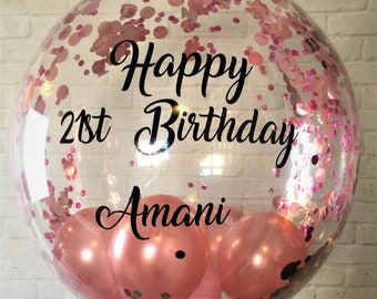 Personalised Pink And Rose Gold Confetti Balloon Inflated Custom Clear Birthday Gift Bespoke In A Box