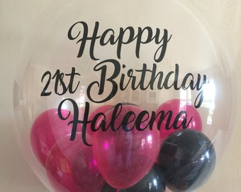 Personalised 18th 21st 30th 40th 50th 60th Birthday Balloon In A Box Helium Inflated Delivery Customised For Her