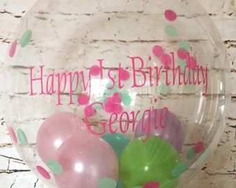 Personalised First Birthday Confetti Balloon Inflated In A Box Gift For Her Helium Delivery