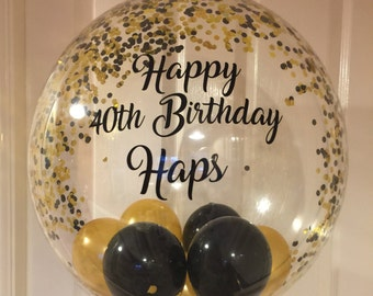 Inflated Personalised Black And Gold Confetti Birthday Balloon In A Box For Him Delivery Bespoke