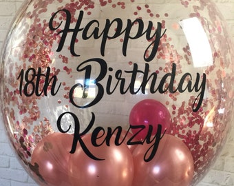 Personalised Birthday Balloon Helium Inflated Bespoke Rose Gold In A Box Delivery Confetti