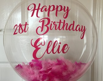 Inflated Personalised Pink Feathers 21st Birthday Balloon In A Box Delivery Bespoke Custom Clear Gift