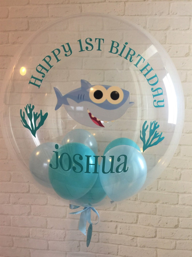 Inflated Personalised Baby Shark Themed Balloon Custom