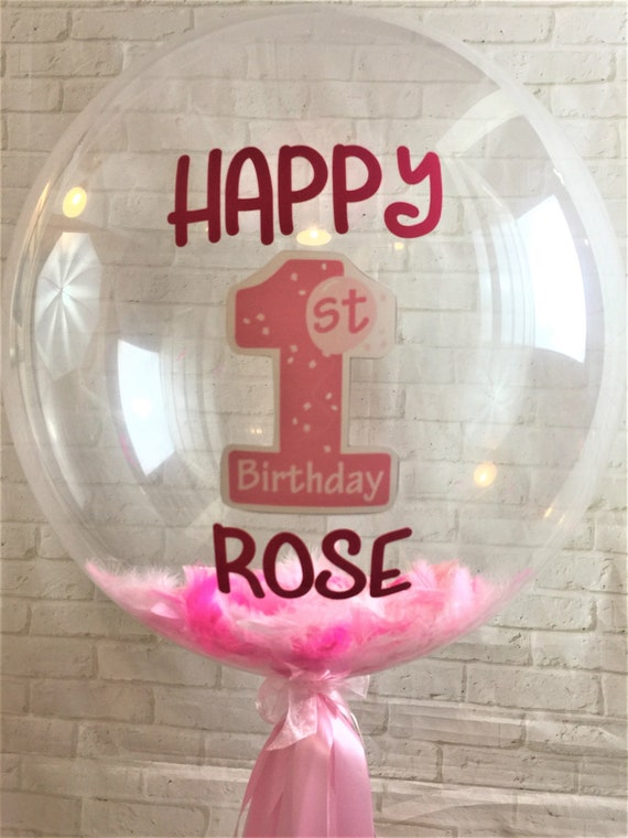 Personalised First Birthday Balloon Pink Feather