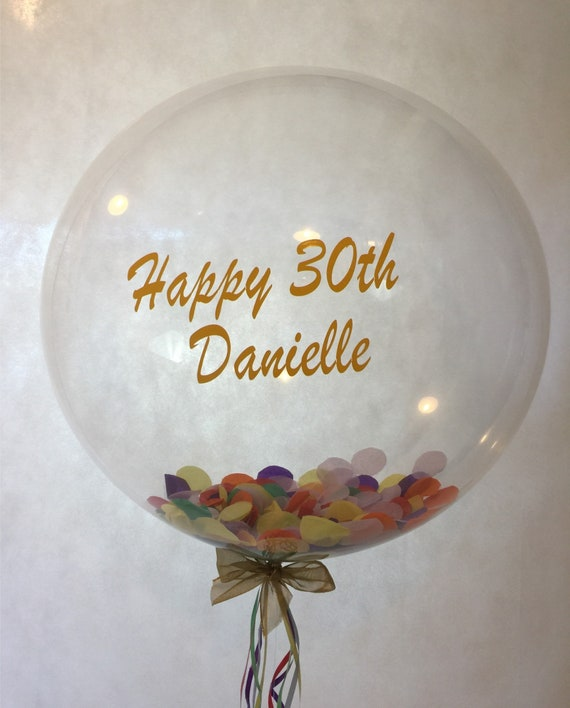Personalised 30th Birthday Balloon Bubble Inflated In