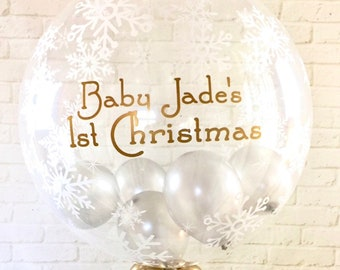 Large personalised christmas balloon/ baby's first christmas/snowflakes balloon/inflated balloon in a box balloon delivery