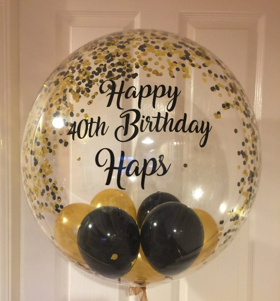 Inflated Personalised Black And Gold Confetti Birthday
