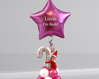 Personalised Christmas Girl Elf arrival balloon/Balloon in a box/Christmas elf arrival ideas/elf delivery/