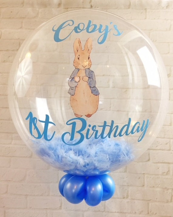 Personalised Peter Rabbit Themed First Birthday Feather