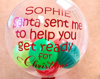 Personalised Christmas balloon gift/Christmas Elf arrival balloon surprise/ helium inflated balloon in a box delivered/Santa's elf balloon