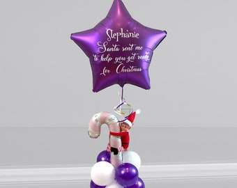 Personalised Christmas Girl Elf arrival Balloon/Christmas balloon gift/christmas balloon delivery/balloon in a box