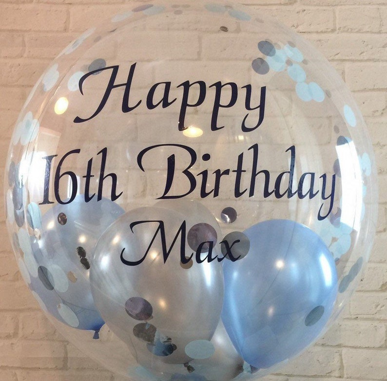 Personalised Birthday Confetti Balloon For Him Custom Clear