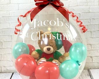 Teddy in a Balloon/First Christmas/balloon gift/baby Christmas/balloon delivered/balloon in a box