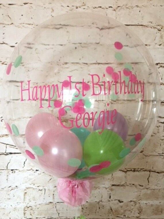Personalised First Birthday Confetti Balloon Inflated