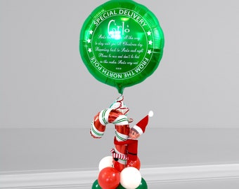 Personalised Christmas Elf arrival foil balloon/Christmas balloon surprise/balloon in a box/balloon delivery UK