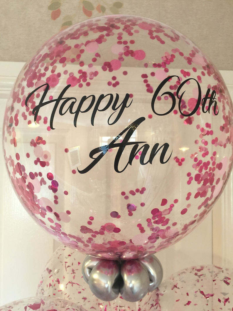 Personalise Pink Confetti Birthday Balloon 60th