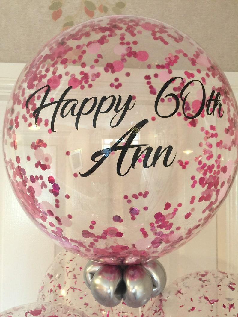 Personalise Pink Confetti Birthday Balloon 60th