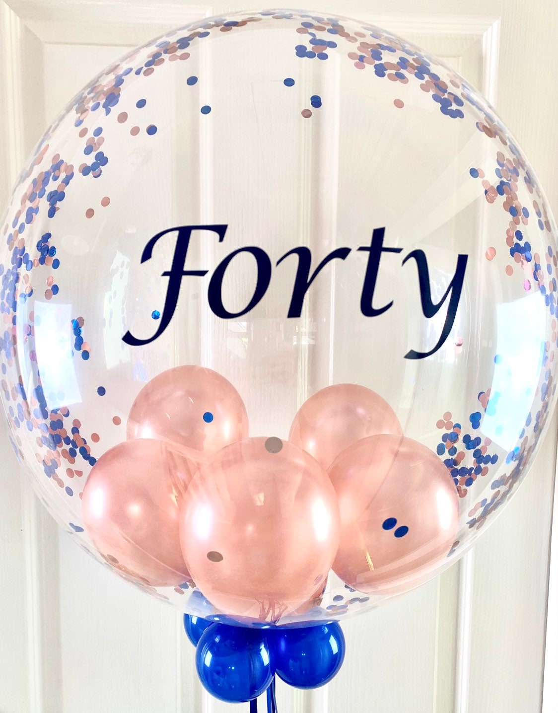 Personalised Birthday Party Banner Special Event Sign Gold Blue Balloons