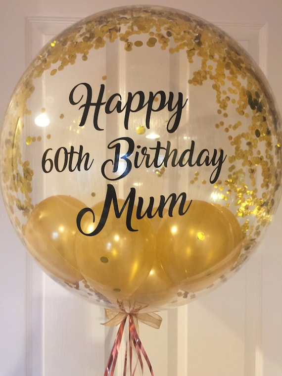 Personalised 60th Birthday Balloon 50th Gold Confetti 40th Custom Inflated 30th For Mum