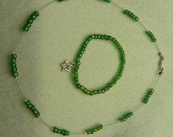 Set - Chain and Bracelet in Green