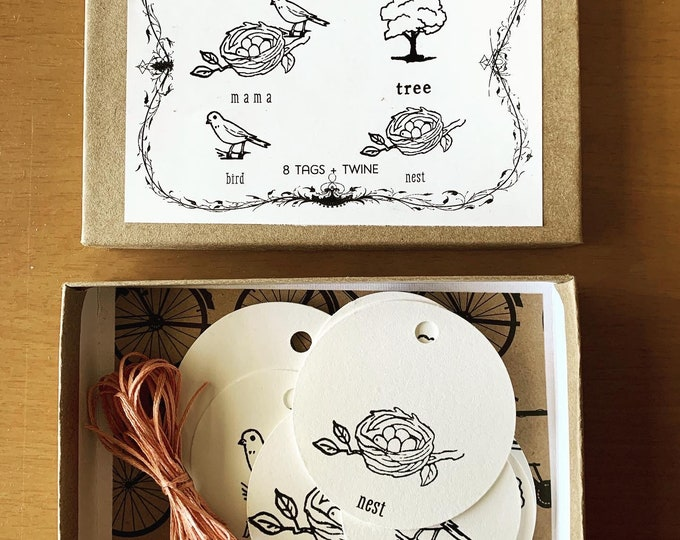 Featured listing image: Beautiful Mama Bird gift tag boxes set