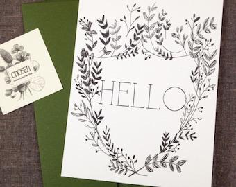 Hello Flat Card, Hand Drawn Laurals
