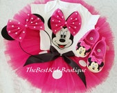 Pink Polka Dot Minnie Mouse Birthday Tutu Outfit , Minnie Mouse Personalized Shirt, Shoes, Minnie Mouse 1st Birthday Outfit Baby Minnie