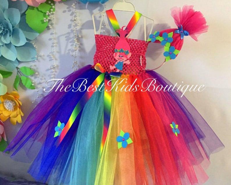 8275b3d58 Trolls Poppy Birthday Tutu Outfit Poppy Birthday tutu Dress | Etsy