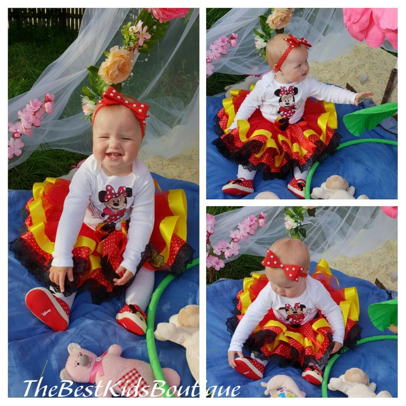 Red Yellow Black Minnie Mouse Birthday Tutu Outfit Shoes Minnie Mouse 1st Birthday Outfit Baby Minnie Minnie Mouse Personalized Shirt
