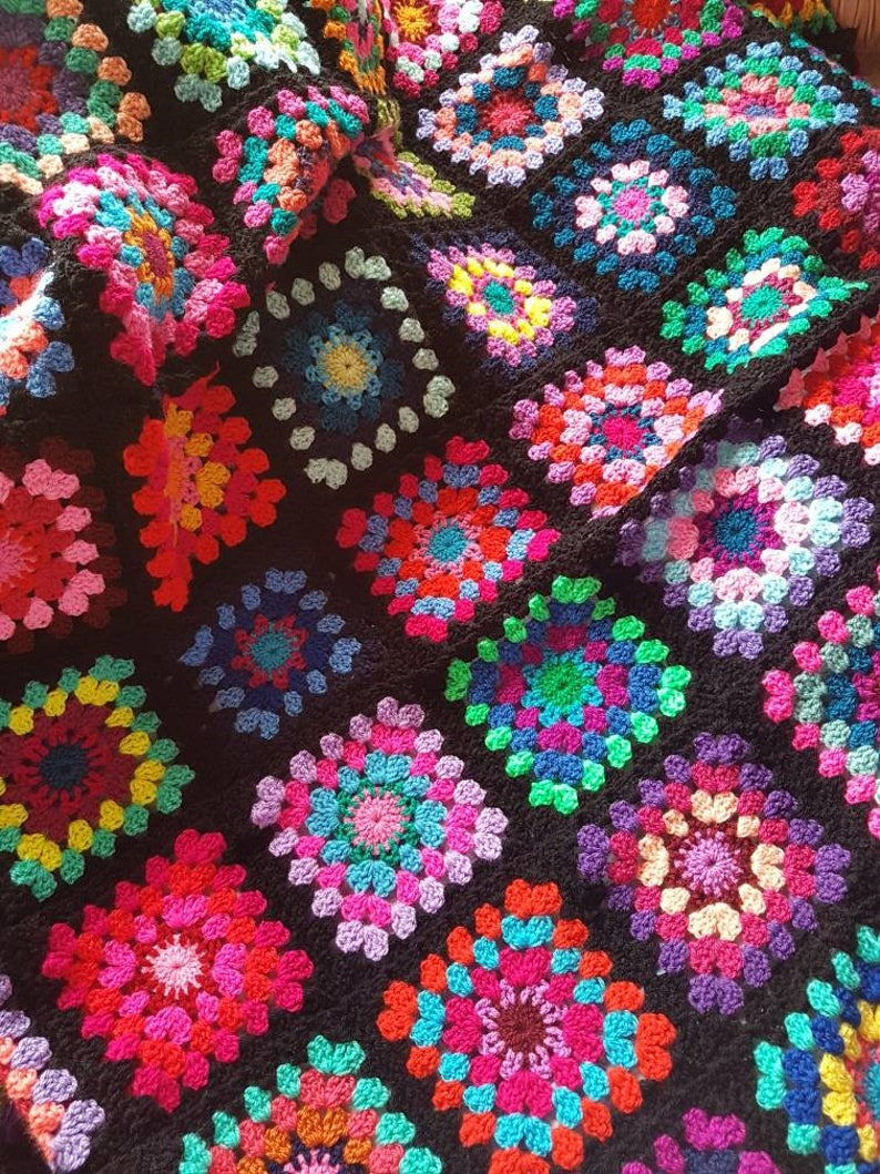Afghan XL Crochet Granny Square Blanket Retro Shabby Chic Hipster Throw BRAND NEW Hand Made One of a kind Vintage Classic Style Colourful
