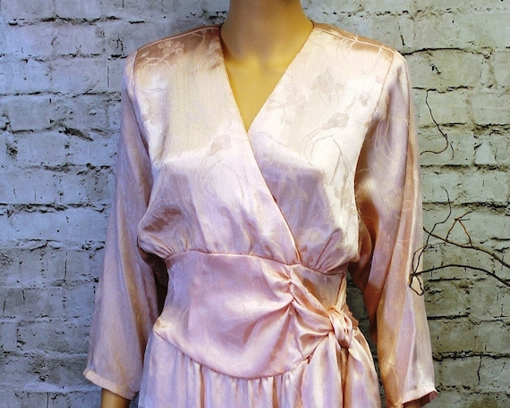 Pink Silk Faux Wrap Dress - Size 4