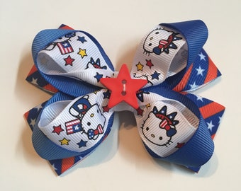4th of july hair bow. Hello kitty hair bow. 4th of july hair clip.  4th of july baby headband