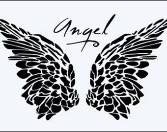 Angel Wings Word.    Now Thicker, Stronger, Longer Lasting  250 micron Mylar Stencil - A5 - A4 - A3 - Free UK P & P