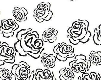 Falling Roses reuseable 190 micron Mylar Stencil - A5 - A4 - A3 - Free UK P & P