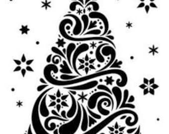 Christmas Tree with Stars.  Thicker, Stronger, Longer Lasting 250m Mylar Stencil - A5 - A4 - A3 - Free UK P & P