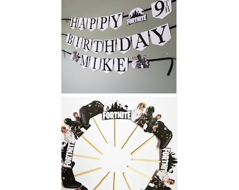 Fortnite birthday banner and cupcake toppers party pack. Fortnite birthday decor