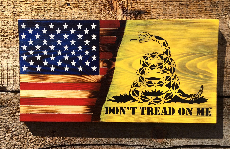 Don\'t Tread On Me American flag wall art Gadsden snake | Etsy