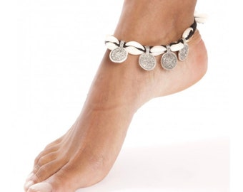 Boho Summer Breathe ankle bracelet / / / shell cowrie + coins / / / Boho cowrie shell beach necklace
