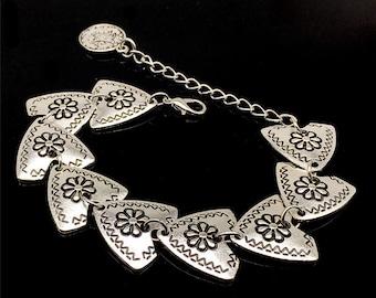 Silver boho chic triangle bracelet