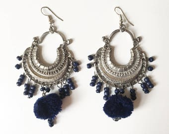 Silver & Blue tassel earrings
