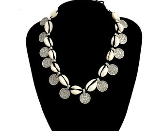 Boho Summer Breathe necklace / / / shell cowrie + coins / / / Boho cowrie shell beach necklace