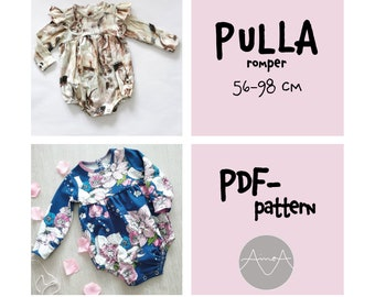 """Pdf-pattern, romper with long sleeves, """"Pulla"""" 56-98 cm"""