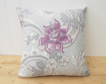 Laura Ashley Handmade Cushion Floral Purple And Grey Pillow Flowered 16 Decorative Pattern Both Sides With Zip