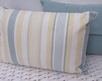 Handmade Laura Ashley cushion, Awning Stripe cushion, Primrose Duck Egg cushion,  Laura Ashley pillow, Buttoned Cushion. Rectangle pillow